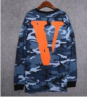 Wholesale 2016 hip hop streetwear men unisex vlone friends V round neck Camouflage cotton long sleeev t shirt