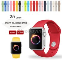 Wholesale 25 Colors MM MM Silicone Sport Band wristband With Connector Adapter For Apple Watch Band mm mm Strap For iWatch Sport Buckle Band