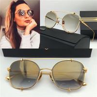 al por mayor modas limitados-Nueva marca de fábrica de las mujeres gafas de sol dita gafas de sol dos edición limitada 3.0 cristal lente revestimiento de metal ronda marco steampunk estilo desfile de moda