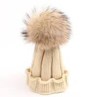 Wholesale Children Real Dyeing Raccoon Fur Pom Pom Winter Beanie Kids Boy Girl aged to Baby Fur Pompom Knit Hat Cap WA1683