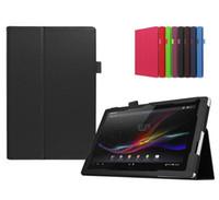 al por mayor z pluma-Doblar la cubierta elegante del cuero del folio del soporte con el sostenedor auto de la pluma Despierte la caja del tirón para 10.1 pulgadas Sony Erisson Xperia tableta Z Z2 Z3 Z4 10.1
