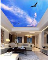 Wholesale Custom photo wallpaper D stereoscopic ceilings Blue sky ceiling d wallpaper landscape