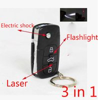 plastic flashlight - Stun gun flash Light Car Key Mini pocket Stun gun Super power gun Electric shock laser flashlight Colour Black