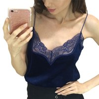 Grossiste-Sexy Automne Velours V Neck Deux usure Hollow Lace Pattern Camisole Sleeveless Débardeurs Winter Sexy Femmes Party Club Cropped Tops