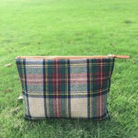 sanded fabric Bag Zipper Sanded Plaid Cosmetic Bag Wholsesale Blanks Plaid Tartan Soft Material Cosmetic Case Toiletry Bag Accessory with Zipper Closure DOM106405