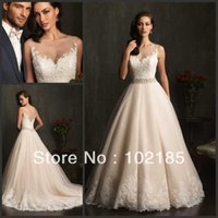 alibaba dresses - Delicate A line V neck Floor Length Made In China Appliques Tull Spaghetti Straps Alibaba Wedding Dress