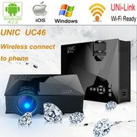 DLP Business & Education Yes Wholesale-Newest UNIC UC46 Portable LED WiFi Video Home Cinema Projector Laptop PC Wireless Handheld Mini Projector with USB SD HDMI VGA