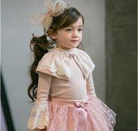Wholesale Grils princess tops winter children lace jacquard petal sleeve T shirt kids sweet detachable lace collar pullover grils warm colthing T0538