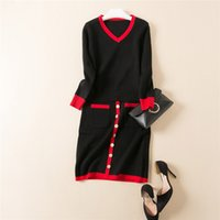 Wholesale contrast color gold thread trim lady sweater and buckle donw skirt knitted piece set female