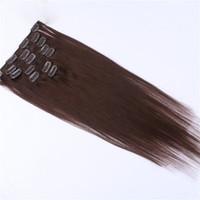 Wholesale 5set Dark Color Remy Human Hair quot quot quot quot Clip hair extension Black Brown Blonde optional g g MoonBay Hair
