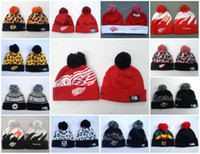 Wholesale Hockey Beanies with Pom Mixed Sale Hats Chicago Black Hawks Detroit Red Wings Los Angeles Kings Montreal Canadiens