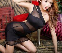 achat en gros de mini-baby doll sexy-2017 black Nightclub catsuit costumes sexy jupe serrée mini robe see-throughs robes sexy lingerie bébé poupées Sexy hot nightdress