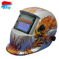 Wholesale Silver Flame Skull Mask Solar Auto Darkening Welding Helmet Welding Equipment TIG MIG Electric Welding Cap