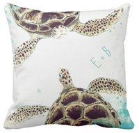 Wholesale Watercolor Sea Turtle Love Designer Personalized Outdoor Pillow Case Squar Sofa and Car Cushions Cover inch inch inch