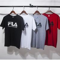 Wholesale Gosha Rubchinskiy x Fila Tee Logo T Shirts Mens Womens bonjour madameTee Shirt Hip Hop Triangle Printed Short Sleeve Streetwear T Shirts