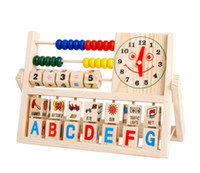animal cognition - Early Childhood Education Toys puzzle wooden toys Wooden Clock Abacus Cognition Letter animals Learning Toy