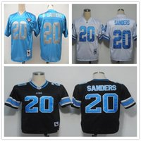 barry sanders throwback - Throwback Barry Sanders White Black Light Blue Retro Home Away Stitched Vintage Football Jerseys