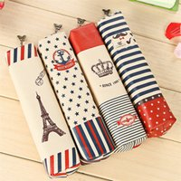 Wholesale The Crown Style Retro Canvas Large Capacity Pencil Case Multifunctional Stationery Pencil Bag School Supplies