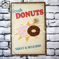 Wholesale Fresh Donuts Sweet Delicious Vintage Metal Tin Signs Room Cafe Club X30CM Wall Decor Tin Plaque Bar Tin Plate Cabin Poster
