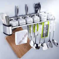 beverage flavoring - Multi functions Wall Mounted Stainless Steel Kitchen Storage Holder Chrome Kitchen Shelf Holder Tool Flavoring Rack