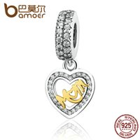 Wholesale BAMOER Sterling Silver Lovely Heart Pendant Mom Charms Fit Bracelets Gold Plated Beads amp Jewelry Making PAS336