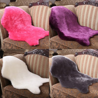 100% Polyester artificial textiles - Hairy Carpet Sheepskin Chair Cover Seat Pad Plain Skin Fur Plain Fluffy Area Rugs Bedroom Faux Mat Washable Artificial Textile