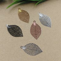 Charms antique silver filigree jewelry - 35 mm antique bronze silver rose gold gun black Copper filigree leaves charm for jewelry making diy Metal leaf bracelet pendants findings