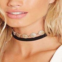 Wholesale Fashion Jewelry Ribbon Gold Pendant Women Choker Chunky Bib Statement Necklace