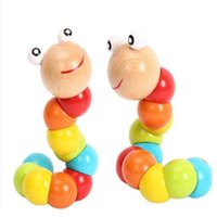 Wholesale Cute Insert Puzzle Kids Educational Wooden Toys Baby Children Fingers Flexible Training Science Twisting Worm Toys