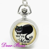 alice antiques - Alice in Wonderland We are all Mad here Cheshire Cat Quartz Pocket Watch Necklace pc mix designs