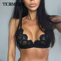 Wholesale Lace Bralette Transparent Bralet Sexy Crop Top Bra Unpadded Wireless Brassiere See Through Intimates Camis For Women