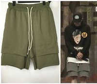 Wholesale Mens Drop Crotch Sport Boardshort Black Beach Green Hip Hop Kanye West Boost False Two Pieces Horts Justin Bieber Cotton Drawstring Shorts