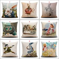 Wholesale Cushion Cover Rabbit Animal Cotton Linen Cushion Covers Printed Chair Seat Sofa Throw Decorative Pillows Case