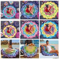 Wholesale 7 designs cm lotus colorful Bohemian Mandala Beach Tapestry Hippie Throw Yoga Mat Towel Polygon Beach Shawl Bath Towel B1184