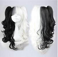 Hatsune Miku Cosplay sintético largo Afro Kinky rizado negro y blanco Peluca Resistente al calor Peluca Anime Cabello largo 26in peruca Cosplay Pelucas