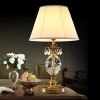 Wholesale Copper desks lamp European American simple luxury crystal table lamps desk lighting living room bedroom bedside wedding viall led table lamp