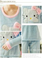 Wholesale Han edition in the fall and winter of coral fleece pajamas woman with thick flannel cartoon bugs bunny long sleeve winter round collar leisu