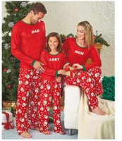 Wholesale New Year Family Pajamas For Christams Gift Family Photo Santa Cotton Kids Boys Girls Mums Dads XMAS Sleepwear Matching Outfits Set