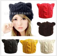 twist tie - 2016 autumn winter wool beret Han edition twist hat cat ear cap Knitting women warm hat