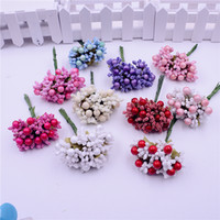 Wholesale Foam Silk Stamen Handmade Artificial Berry Flower Wedding Decoration DIY Wreath Gift Box Scrapbooking Craft Fake Flower