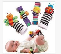 bee wristbands - New arrival sozzy Wrist rattle foot finder Baby toys Garden Bug Bee Baby Rattle Socks Lamaze Baby Rattle Socks and wristbands