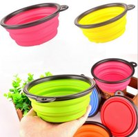 Wholesale Collapsible foldable silicone bowl candy color outdoor travel portable puppy dog Cat food Bowl DHL Shipping Free