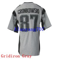 Wholesale Men Football GRONKOWSKI Gridiron Anthracite Color Rush Game Impact Platinum Salute to Service Add Super Bowl LI Bound jersey
