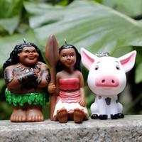 Wholesale Movie Princess Moana Principessa Baby Maui Keyring Pendant PVC Action Figures Toys Size cm set