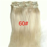 El clip de pelo humano brasileño de la Virgen 7A en la línea principal llena de la cabeza de la extensión # 60 de la extensión libera el envío DHL