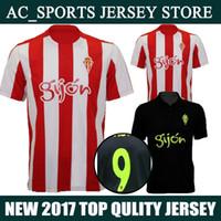 Wholesale 16 Sporting Gijon Jersey Home Red White Away Black Gijon Jersey C CASTRO N CASES Shirt Training Uniform