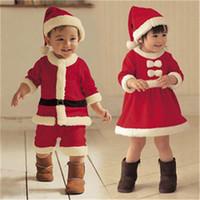 Санта костюмы Цены-Дети Санта-костюм Санта-Клауса рождественские Необычные платья Костюм Outfit костюме и шляпе Младенческая мальчиков Детская одежда Рождество Производительность