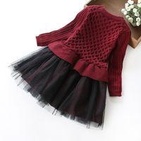 Cheap Girls dress 2016 children edition bowknot wool skirt stitching Sweet autumn and winter white gauze yarn princess skirt