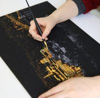 Wholesale Drawing Paper London Scratch Night View Paper Landscape Painting Home Decoration Art Gift Scraping Scratch Drawing World Sightseeing DHL