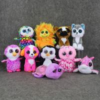 big cats lion - Cute New Animals Beanie Boos Big Eyes Plush Toys Dolls Husky Dog Lion Cat Owl dolphin Penguin Monkey Baby Kids Gifts Doll cm